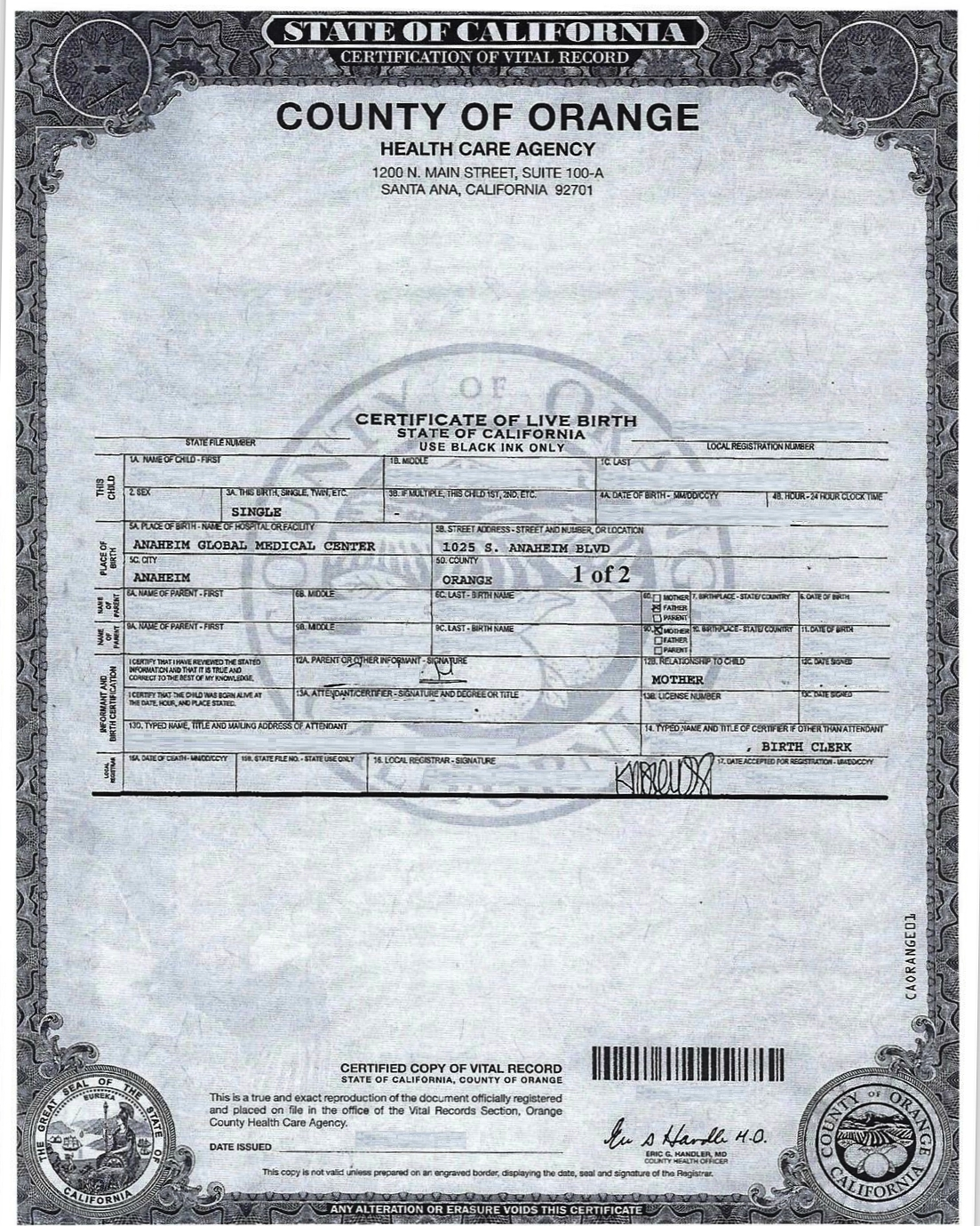 Birth Certificate Total Care